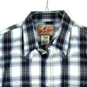 WRANGLER Mens XL Western Shirt Plaid Pearl Snap